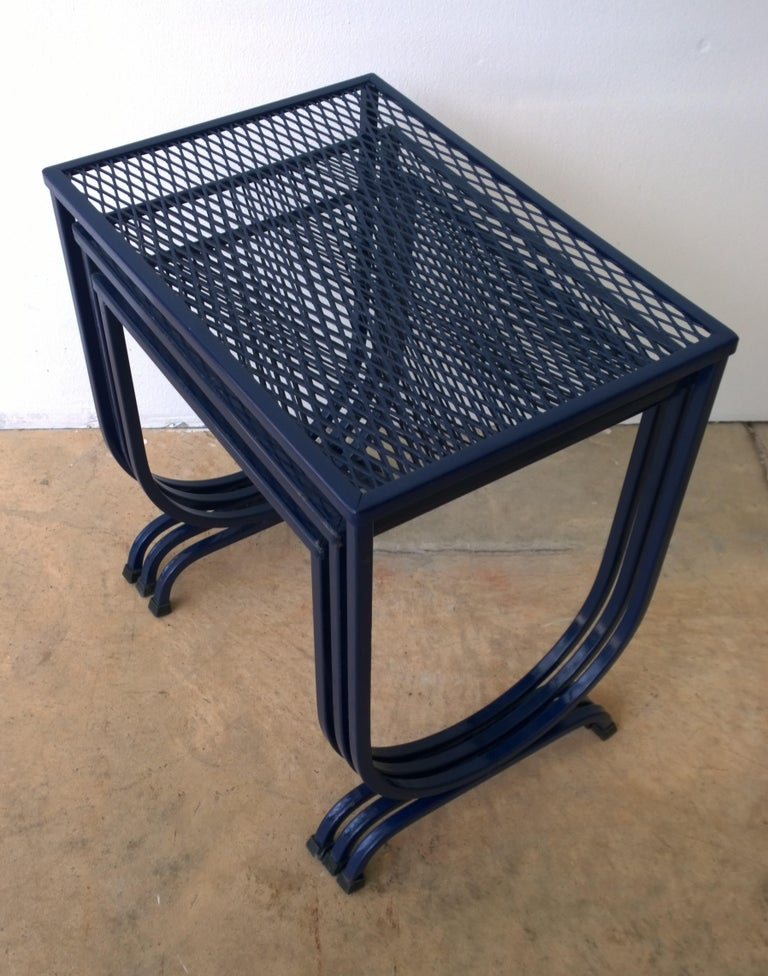 American S/3 Salterini Newly Enameled Blue Wrought Iron Patio Stacking / Nesting Tables For Sale