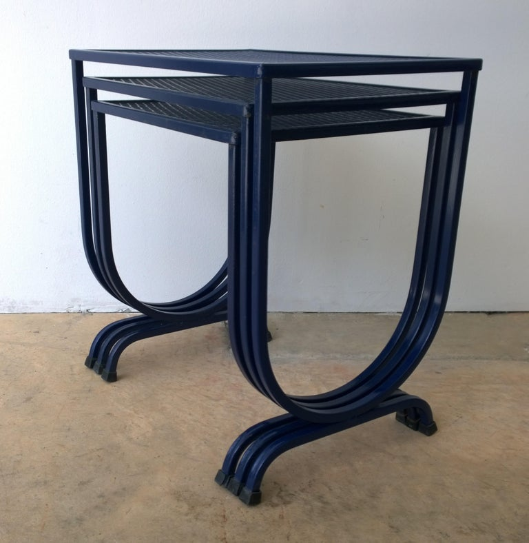 20th Century S/3 Salterini Newly Enameled Blue Wrought Iron Patio Stacking / Nesting Tables For Sale