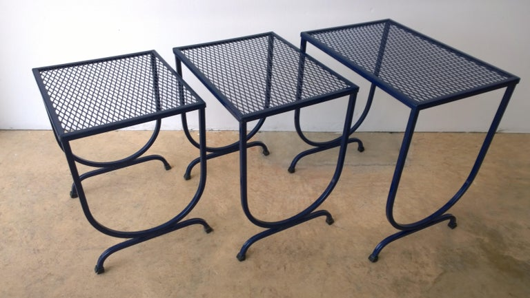 S/3 Salterini Newly Enameled Blue Wrought Iron Patio Stacking / Nesting Tables For Sale 4