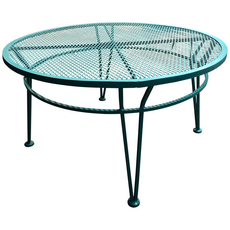 John Salterini Newly Refinished in Lagoon Blue Wrought Iron Patio Cocktail Table For Sale