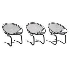 John Salterini Patio Springer Lounge Chairs, Restored, Satin Black