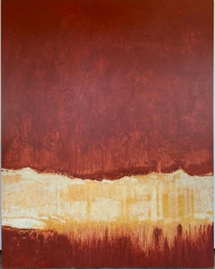 Red, tan, abstract, huge painting