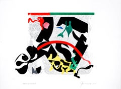 """Deeply Lamented"", abstract modern monoprint, geometric, black, green, yellow."