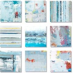 """Vetro 0919-02"" Mixed media, abstract paintings behind acrylic tiles"