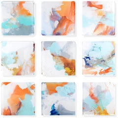 """Vetro 0920-02"" Abstract orange, blue and gray paintings on acrylic tiles"