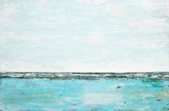 """Cielo Blu 99"" Aqua blue abstract mixed media diptych"