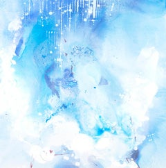 """Incanto #42"" abstract mixed media painitng in shades of blue and white"