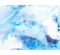 """Incanto #43"" Abstract mixed media painting with white and shades of blue"