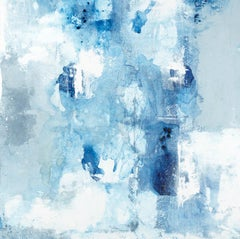 """Respiro #38"" abstract mixed media painting on linen in blues, white and gray"