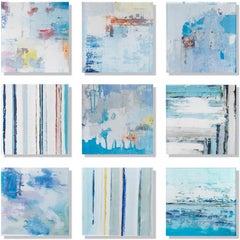 """Vetro 0120-02"" Mixed media, abstract paintings behind acrylic tiles"