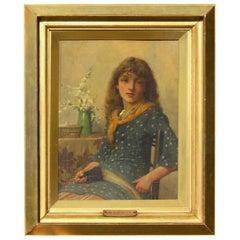 John Scott British Artist Oil on Board, Young Seamstress