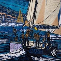 John Scott Martin, Coming Into St Tropez, Sailing Art, St Tropez Art
