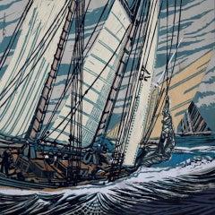John Scott Martin, We'll Kick Her Through, Sailing Art, Affordable Art
