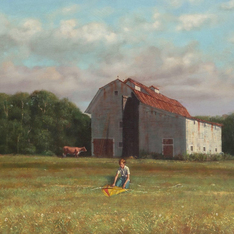 Rural Childhood, American Academic Realist oil of a Young Boy with a Kite For Sale 2