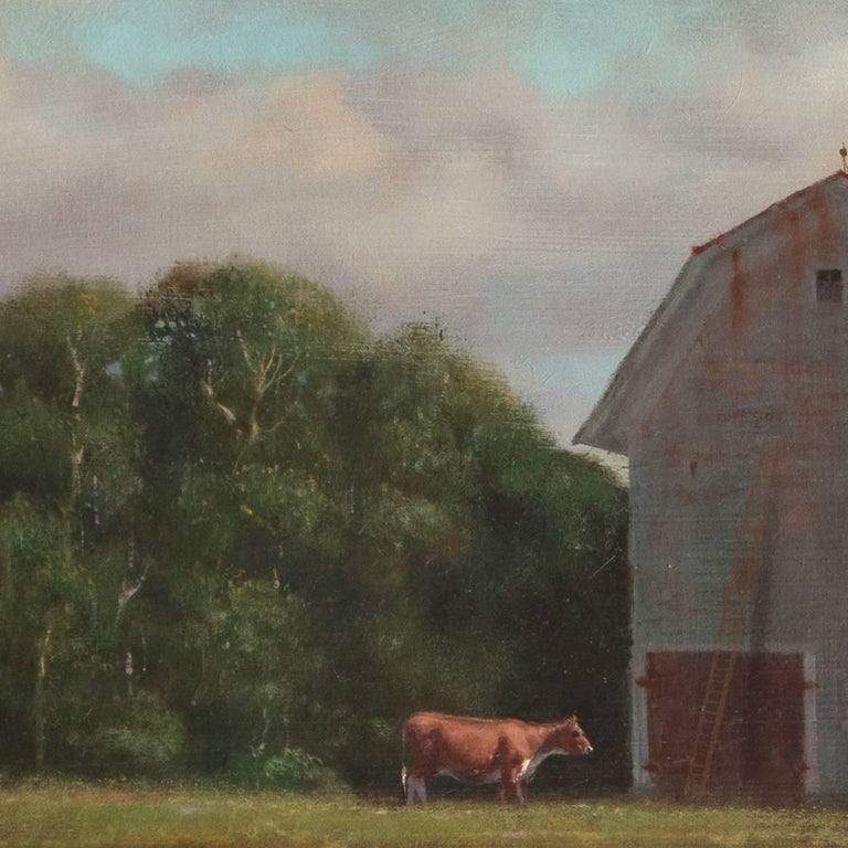 Rural Childhood, American Academic Realist oil of a Young Boy with a Kite For Sale 4