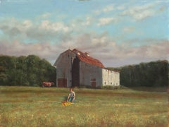 Rural Childhood, American Realism, Academic oil of a Young Boy with a Kite