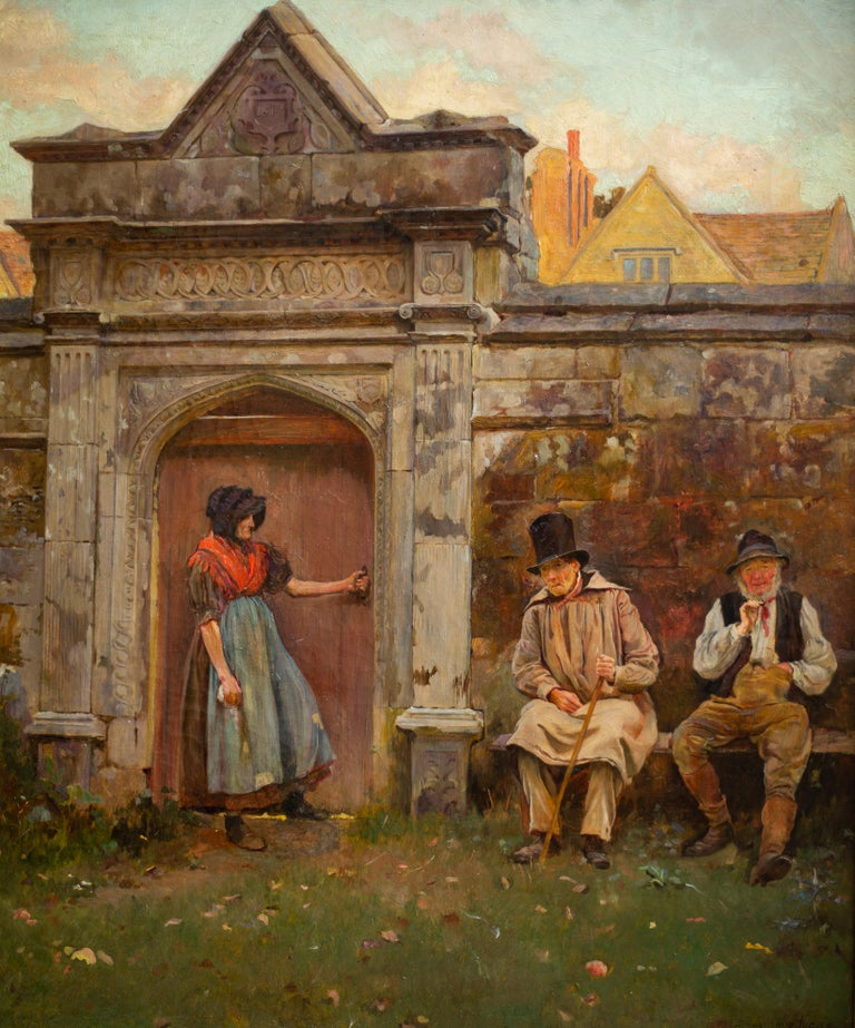 The Old Gateway by John Seymour Lucas, Signed, Oil on Canvas, English Artist For Sale 1
