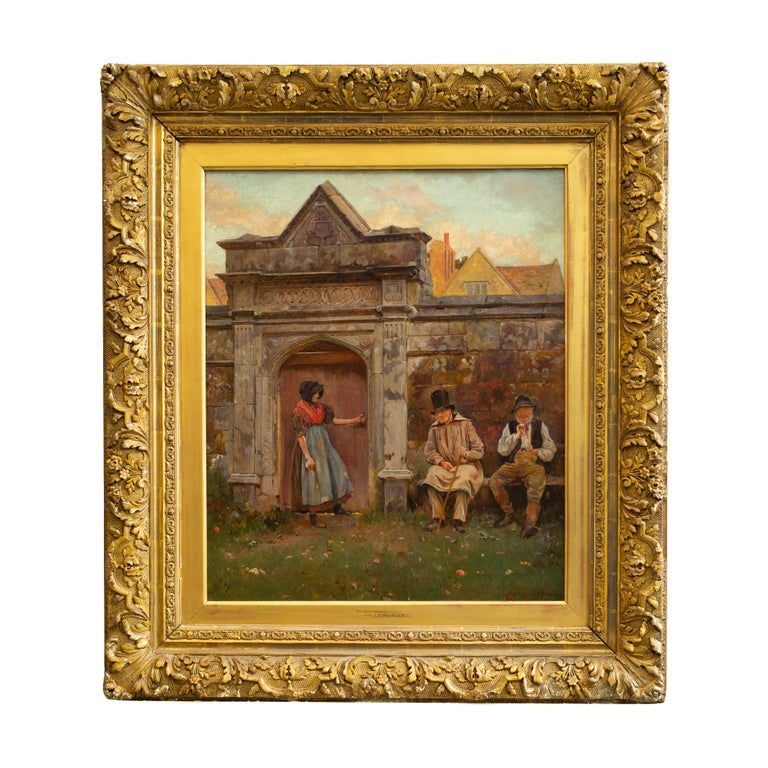 John Seymour Lucas (1849-1923) English   The Old Gateway   oil on canvas signed and dated - Seymour Lucas 1876 canvas size 24.01 x 20.07 inches (61 x 51 cm) frame 34.64 x 30.31 inches (88 x 77 cm)