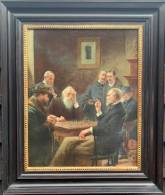 19th century American or European, Interior portrait of rich men playing chess