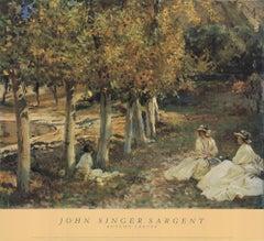1988 After John Singer Sargent 'Autumn Leaves' Impressionism Green,Brown,Orange