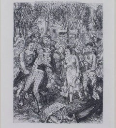 """The Row at the Picnic,"" Original Black and White Etching by John Sloan"