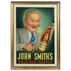 John Smith's Beer Sign, Tin Framed Glacoide Sign on Cardboard, 1976