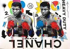 """Ali No. 5"" Double Muhammad Ali & Chanel Pop Art Acrylic Painting on Canvas"