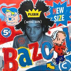 """Bazooka Basquiat"" Bazooka Gum & Jean Michel Basquiat Acrylic Painting on Canvas"