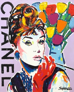 """""""Lavender Chanel"""" Audrey Hepburn with Flowers Pop Art Acrylic Painting on Canvas"""