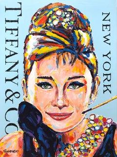 """Miss Audrey Hepburn"" Audrey & Tiffany & Co. Pop Art Acrylic Painting on Canvas"