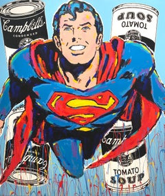 """""""Souper Man"""" Super Man & Campbells Soup Pop Art Acrylic Painting on Canvas"""