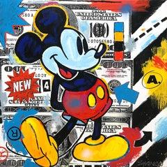 """Street Mouse"" Mickey Mouse & 100 Dollar Bills Pop Art Acrylic Canvas Painting"