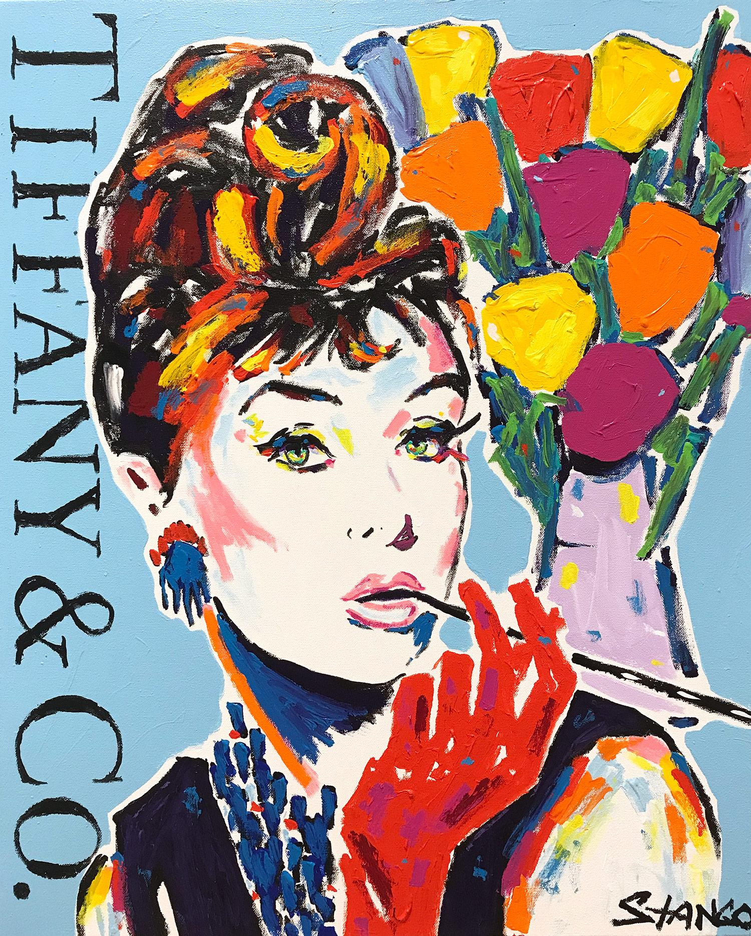 """""""Tiffany Blue"""" Audrey Hepburn with Flowers Pop Art Acrylic Painting on Canvas"""