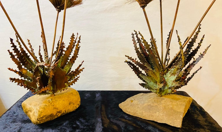 Mid-20th Century John Steck 1960 Signed Mid-Century Modern Brutalist Sculpture, a Pair For Sale