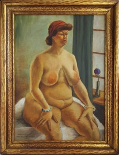 """Hilda Nellis"", seated nude woman . Regionalism"