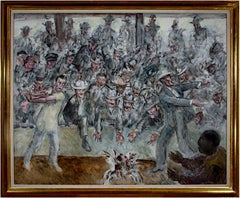 'Cock Fight in Cuba' original Regionalist painting signed by John Steuart Curry