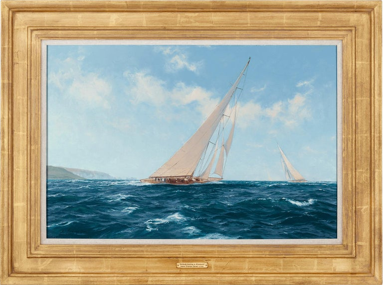 Velsheda beating to Windward off the Needles - Painting by John Steven Dews
