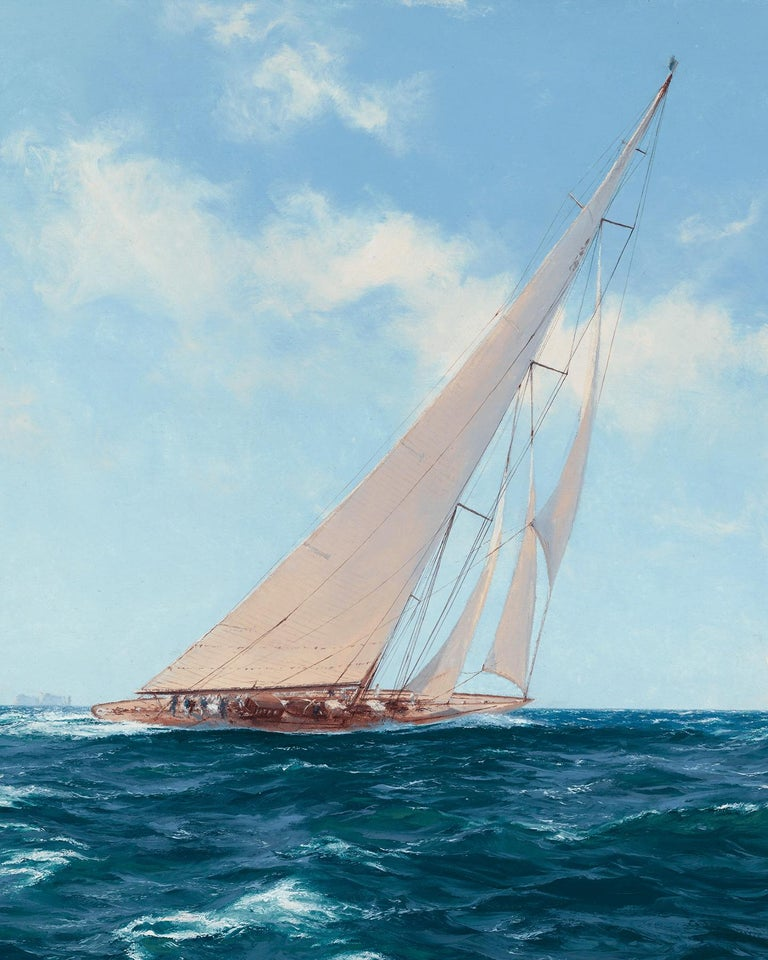 Velsheda beating to Windward off the Needles - Realist Painting by John Steven Dews