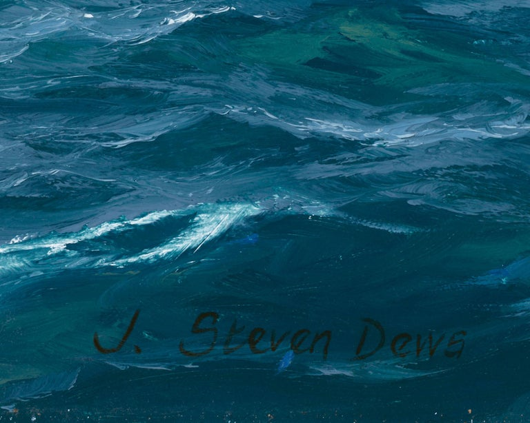 Velsheda beating to Windward off the Needles - Blue Landscape Painting by John Steven Dews