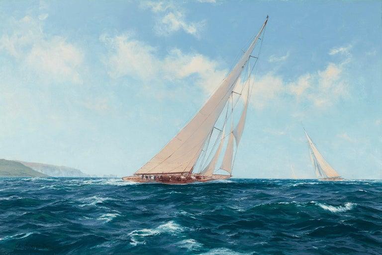 John Steven Dews Landscape Painting - Velsheda beating to Windward off the Needles