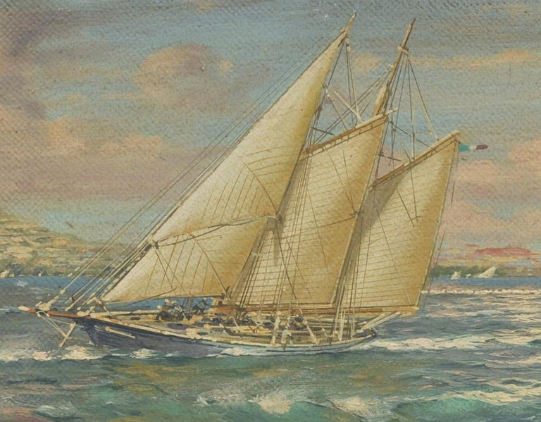 Race in the gulf - John Stevens Italia 2007 - Oil on canvas cm.30x80. Gold leaf gilded wooden frame
