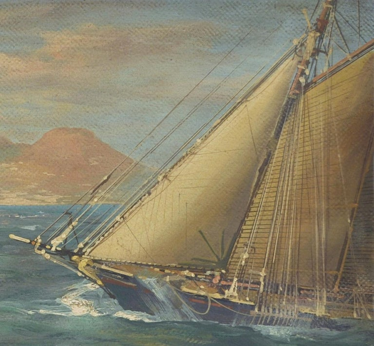 RACE IN THE GULF - John Stevens Italian sealing boat oil on canvas painting For Sale 1