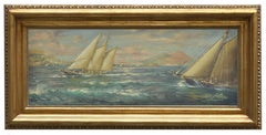 RACE IN THE GULF-English School -  Italian Sealing boat Oil on Canvas Painting