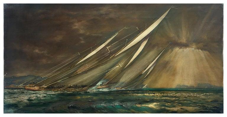 REGATTA IN THE GULF - John Stevens Italian sealing boat oil on canvas painting - Old Masters Painting by John Stevens