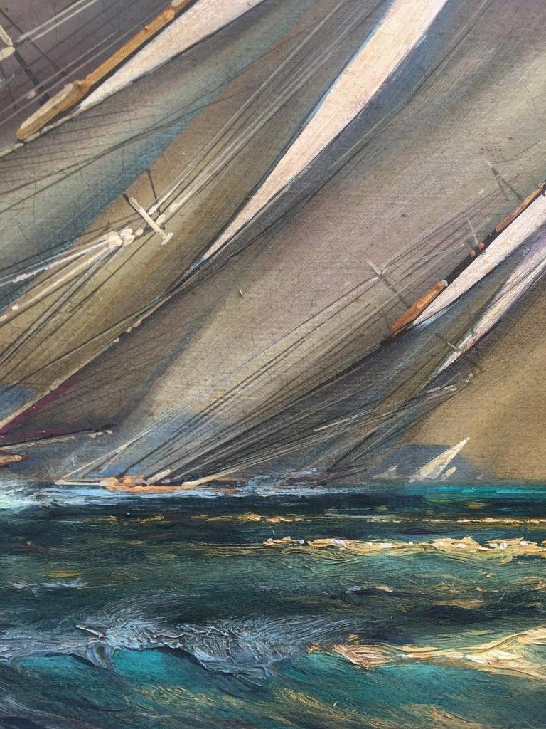 REGATTA IN THE GULF - John Stevens Italian sealing boat oil on canvas painting - Brown Landscape Painting by John Stevens