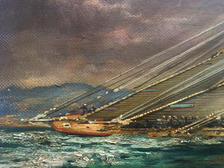 Regatta in the gulf - John Stevens Italia 2006 - Oil on canvas cm.40x80. Gold leaf gilded wooden frame cm.55x95.