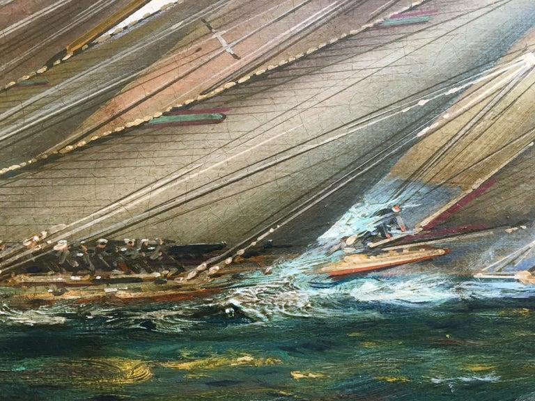 REGATTA IN THE GULF - John Stevens Italian sealing boat oil on canvas painting For Sale 1