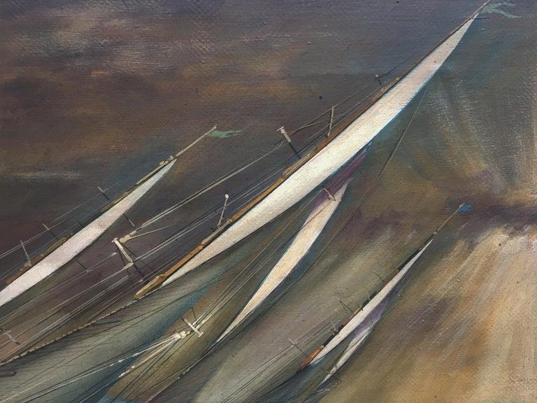 REGATTA IN THE GULF - John Stevens Italian sealing boat oil on canvas painting For Sale 2