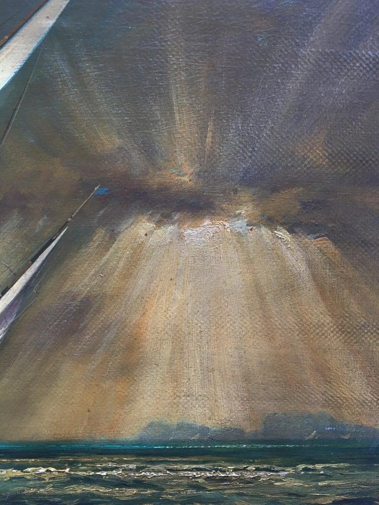 REGATTA IN THE GULF - John Stevens Italian sealing boat oil on canvas painting For Sale 3