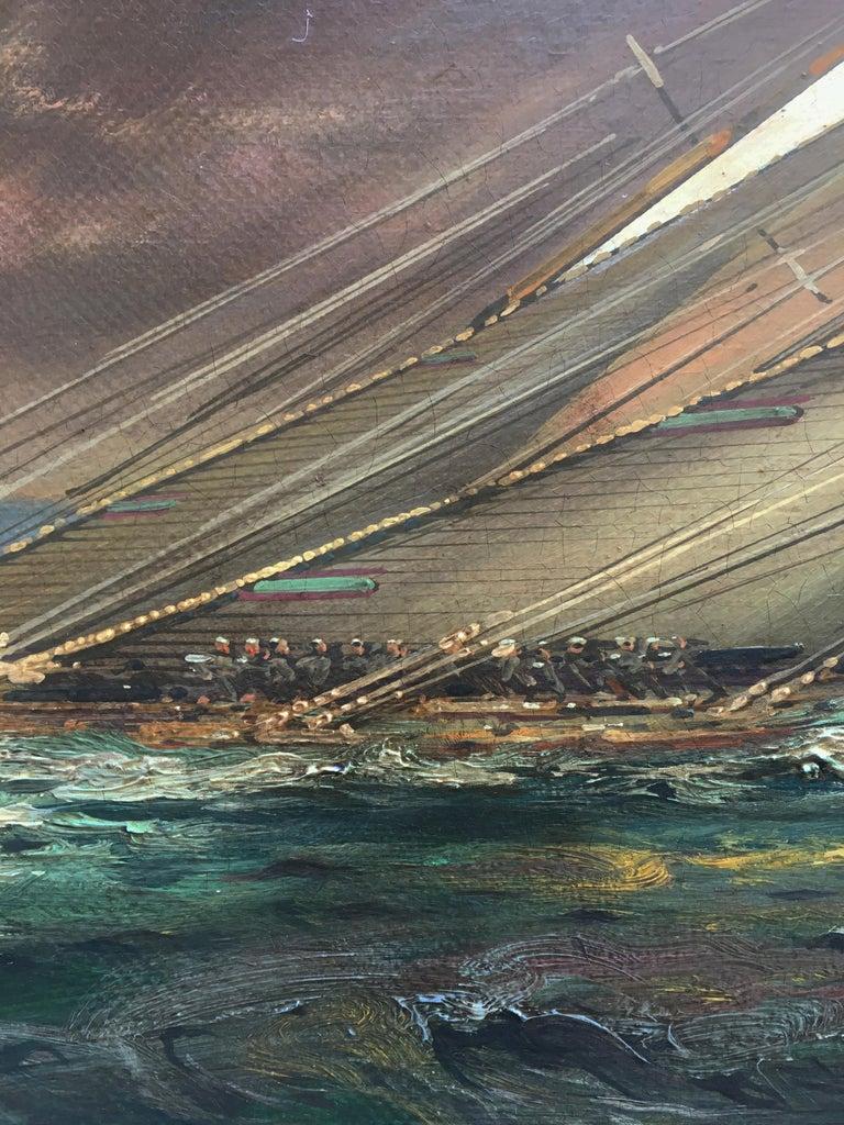 REGATTA IN THE GULF - John Stevens Italian sealing boat oil on canvas painting For Sale 4